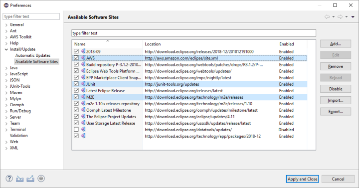 AWS Toolkit for Eclipse Installation – Fitch Tech