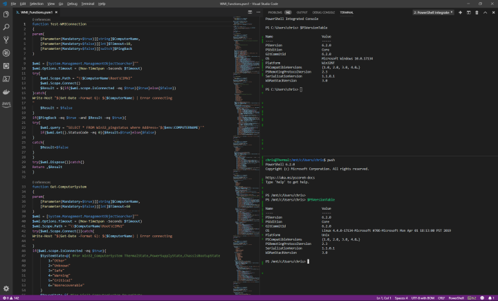 Testing PS Core Cross-Platform Support using VS Code with